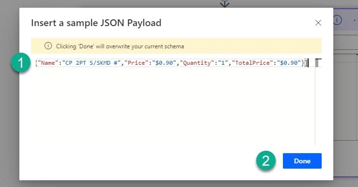 MS Power Automate generate JSON