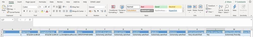 Excel survey data