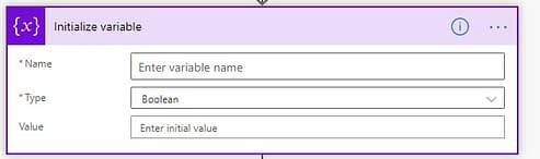 Power Automate Initialise variable name