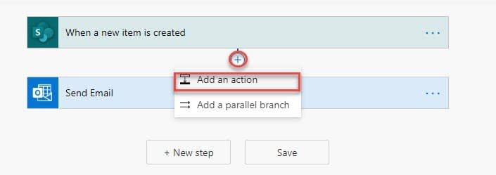 Power Automate Add Action